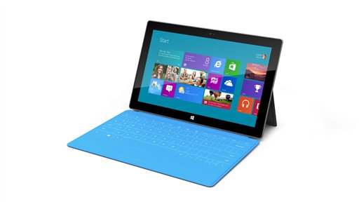 This product rendering released by Microsoft shows Surface, a 9.3 millimeter thick tablet with a kickstand to hold it upright and keyboard that is part of the device's cover. It weighs under 1.5 pounds. The device is part of the software company's effort to compete with Apple Inc. and its popular iPad tablet computer.