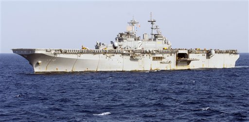 This undated image provided by the U.S. Navy shows the amphibious assault ship USS Essex under way in the Pacific Ocean. The Essex and a refueling tanker, the USNS Yukon, collided in the Pacific Ocean on May 16, 2012, but there were no injuries and no fuel spills, the 3rd Fleet said.