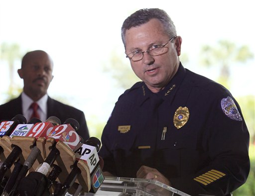 Sanford Police Chief Bill Lee speaks to the the media during a news conference in this March 22, 2012, photo.