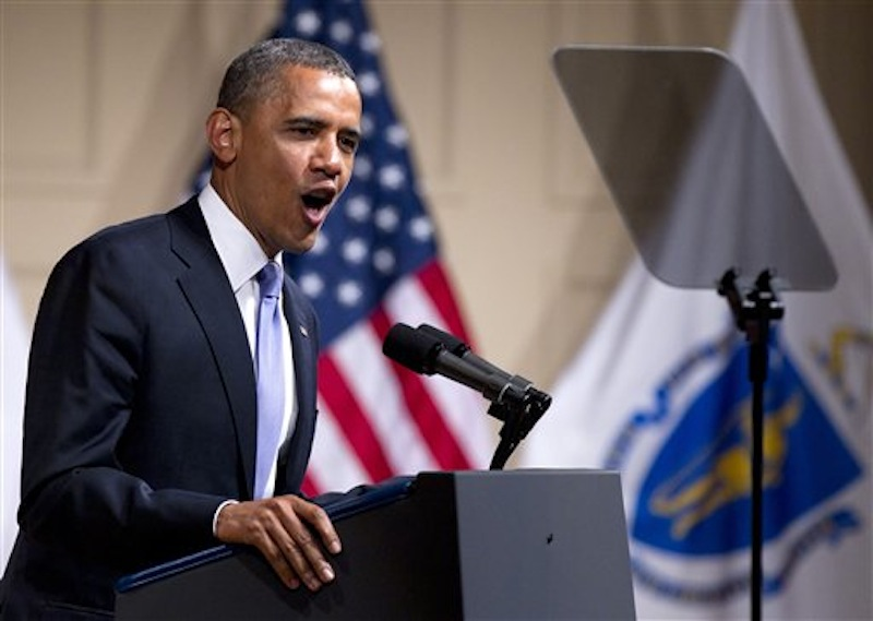 President Barack Obama speaks at a campaign event at Symphony Hall, Monday, June 25, 2012, in Boston. (AP Photo/Carolyn Kaster)