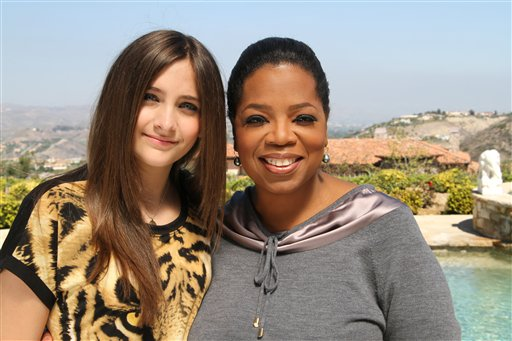 "Host Oprah Winfrey poses with Paris Jackson, daughter of the late pop icon Michael Jackson, in Los Angeles. Winfrey interviewed Jackson for an ""Oprah's Next Chapter"" special that aired on June 10 on OWN."