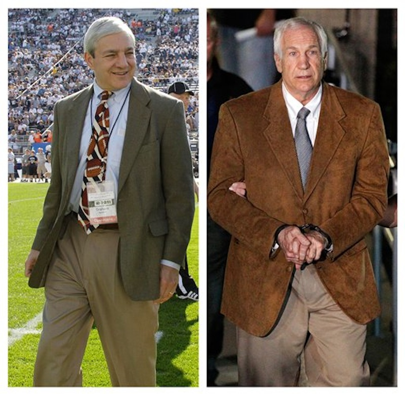 In this photo combo, at left, in an Oct. 8, 2011 file photo, Penn State president Graham Spanier walks on the field before an NCAA college football game in State College, Pa. At right, former Penn State University assistant football coach Jerry Sandusky leaves the Centre County Courthouse in custody after being found guilty of multiple charges of child sexual abuse in Bellefonte, Pa., Friday, June 22, 2012. CNN says it has seen emails showing Spanier agreed not to take allegations of sex abuse against Sandusky to authorities but worried they'd be
