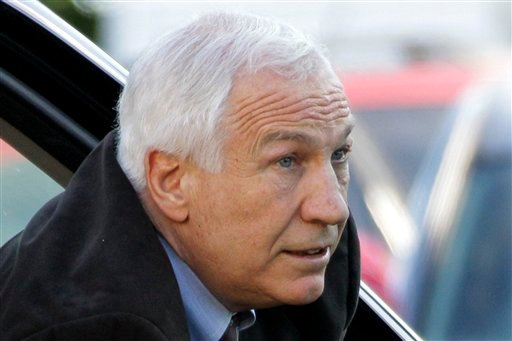Former Penn State University assistant football coach Jerry Sandusky arrives for the third day of his trial at the Centre County Courthouse in Bellefonte, Pa., today.