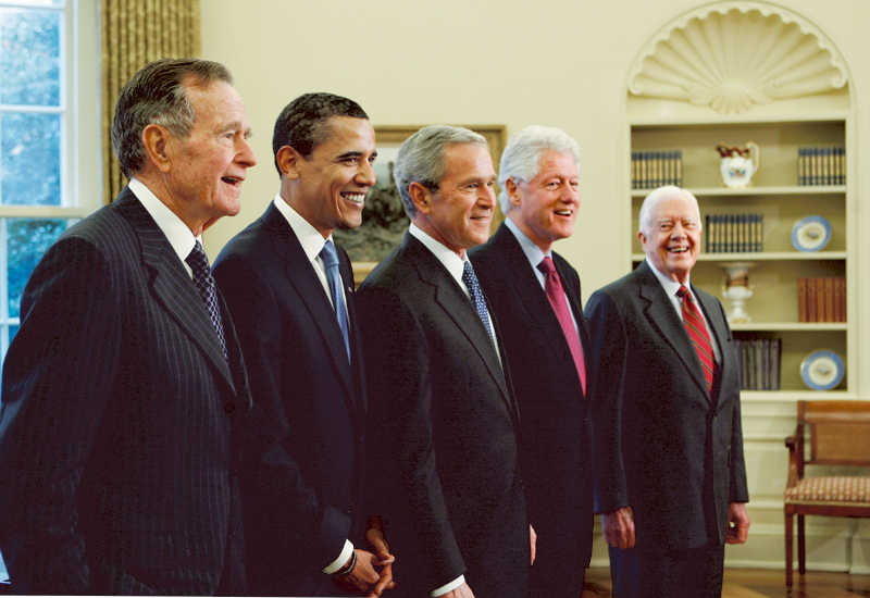 President-elect Barack Obama is welcomed by then-President George W. Bush for a meeting at the White House with former presidents Bill Clinton, Jimmy Carter and George H.W. Bush in this photo from January 2009.
