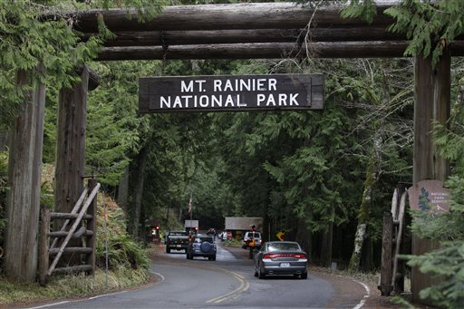 The west entrance to Mount Rainier National Park in Washington State is shown in this Jan. 1, 2012, file photo.