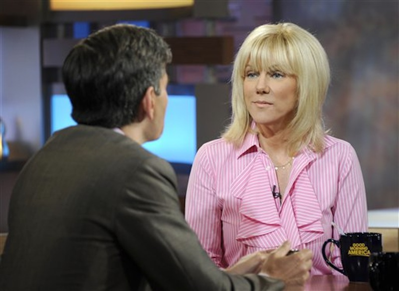 This image released by ABC shows co-host George Stephanopolous, left, speaking with Rielle Hunter during an interview on the morning show
