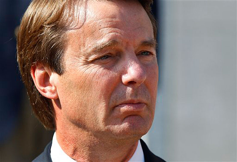 In this May 31, 2012 file photo, ex-presidential candidate John Edwards speaks outside a federal courthouse after his campaign finance fraud case ended in a mistrial, in Greensboro, N.C. Jurors acquitted Edwards on one charge and deadlocked on the other five, unable to decide whether he used money from two wealthy donors to hide his pregnant mistress while he ran for president and his wife was dying of cancer. His mistress, Rielle Hunter, has written a memoir about herself and her relationship with Edwards, and their daughter, set to be released June 26. (AP Photo/Chuck Burton, File)