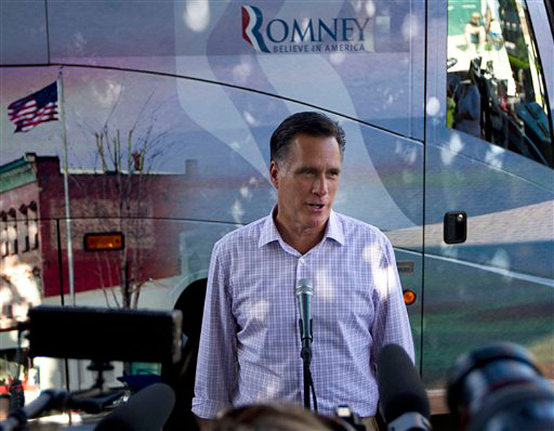 In this June 15, 2012 file photo, Republican presidential candidate, former Massachusetts Gov. Mitt Romney makes a statement on immigration, in Milford, N.H. (AP Photo/Evan Vucci, File)