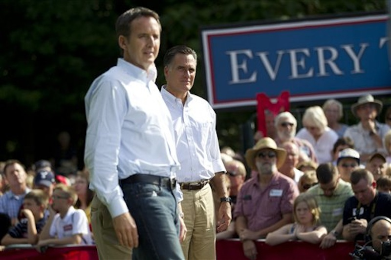 Republican presidential candidate, former Massachusetts Gov. Mitt Romney, right, stands with former Minnesota Gov. Tim Pawlenty during a campaign stop at Cornwall Iron Furnace, on Saturday, June 16, 2012, in Cornwall, Pa. (AP Photo/Evan Vucci)