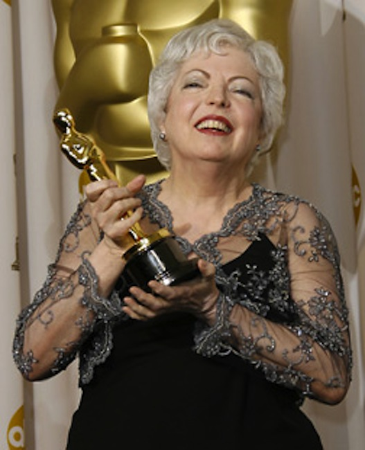 """In this file photo, Thelma Schoonmaker, 61, poses with the Oscar for achievement in film editing for her work on """"The Departed"""" during the 79th Academy Awards Feb. 25 in Los Angeles."""