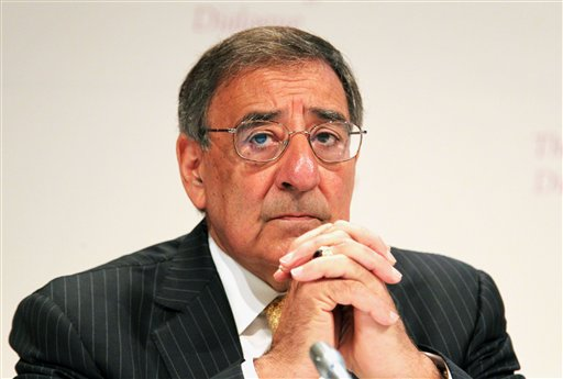 U.S. Defense Secretary Leon Panetta waits to deliver his speech on the