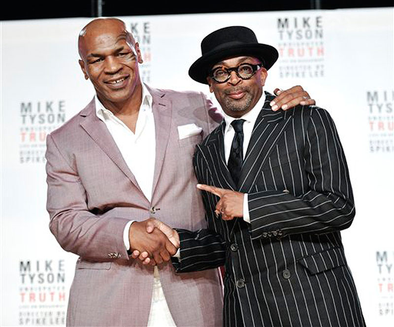 "Former heavyweight boxer Mike Tyson, left, and director Spiken Lee announce ""Mike Tyson: Undisputed Truth"", a one man show on Broadway starring Mike Tyson, on Monday June 18, 2012 in New York. (Photo by Evan Agostini/Invision) Half Length"