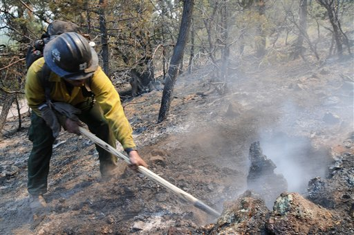 This photo provided by the U.S. Forest Service shows a hotshot during burnout operations at the Gila National Forest blaze on Friday.