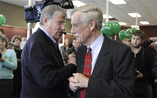 Angus King, Independent candidate for the U. S. Senate, right, speaks to former Independent gubernatorial candidate Eliot Cutler, prior to announcing the opening of his campaign office in Brunswick in April. (AP Photo/Pat Wellenbach)