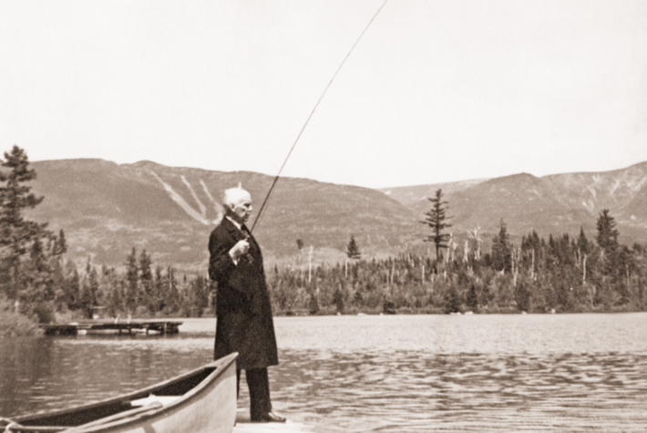 Gov. Percival Baxter fly fishes in Kidney Pond below Mount Katahdin in the park he created in 1931. Baxter purchased the last of the 28 parcels that comprised the wilderness park 50 years ago this summer. (Reprinted from