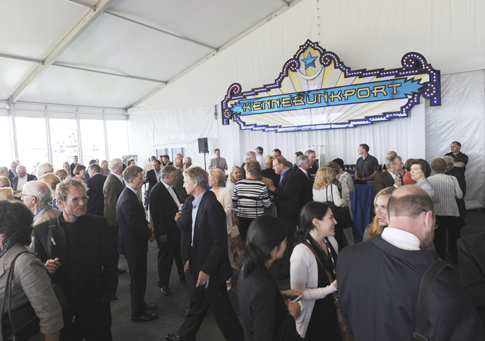Guests mingle at The Kennebunkport Playhouse, a temporary structure built on the grounds of St. Ann's Church, prior to the special screening of