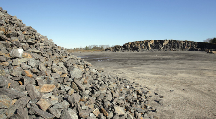 This November 2009 file photo shows Pike Industries' Spring Street quarry. Pike will not start blasting rock, as planned, until the Maine Business and Consumer Court takes further action on a consent agreement between the city and the company.