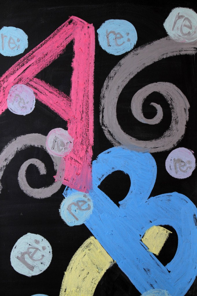 Detail from a chalkboard-painted door.
