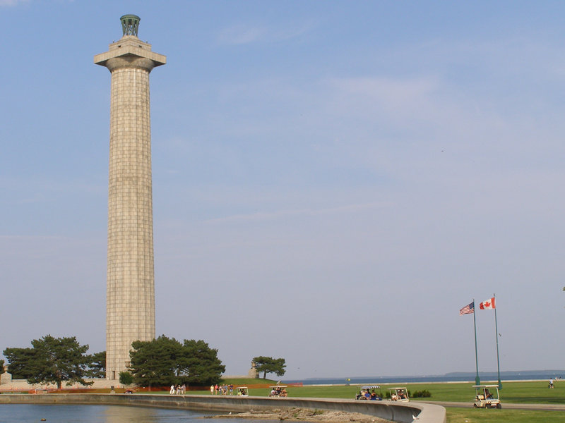 Perry's Victory and International Peace Memorial on South Bass Island in Lake Erie, which commemorates Commodore Oliver Hazard Perry's victory in the 1813 Battle of Lake Erie.