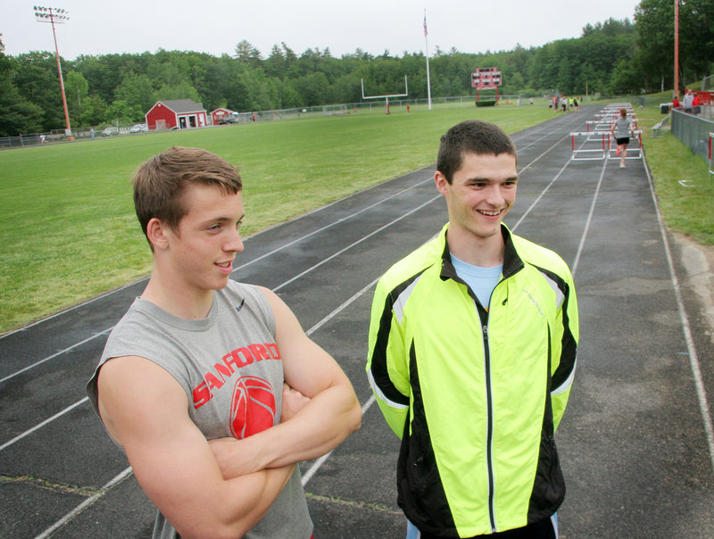 Alex Shain, left, and Daniel Webb are hoping to spark Sanford to its first Class A boys' outdoor track state championship Saturday at Windham.