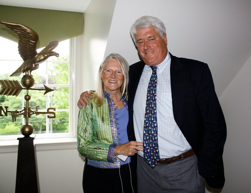 Susie Bennett and Oakhurst President Bill Bennett in the space that was his boyhood bedroom.