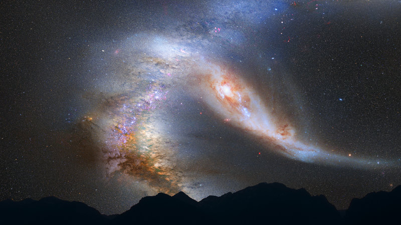 This illustration released by NASA depicts a view of the night sky just before the predicted merger between our Milky Way galaxy, left, and the neighboring Andromeda galaxy.