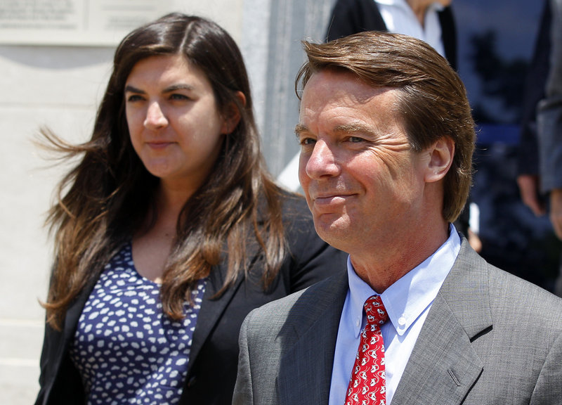 "John Edwards, shown Wednesday with his daughter Cate, said he ""did an awful, awful lot that was wrong and there is no one else responsible for my sins."""