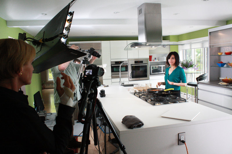 """Vegan chef Terry Hope Romero speaks to the camera during filming in Cumberland for a new cooking show """"Vegan Mashup."""""""