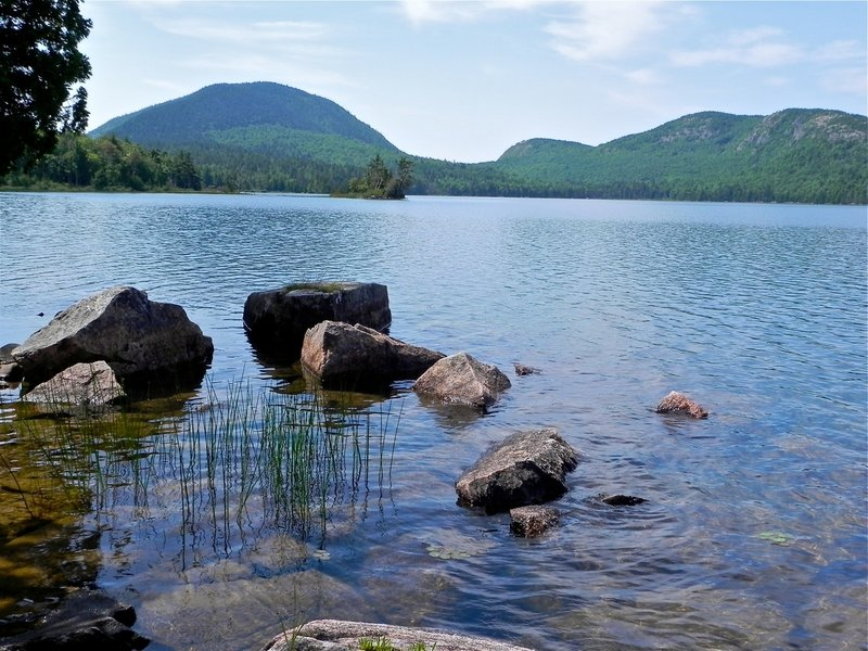 This is the view from the boat launch at Eagle Lake, located about three miles west of Bar Harbor off Route 233. On a canoe ride, the view gets nothing but better.