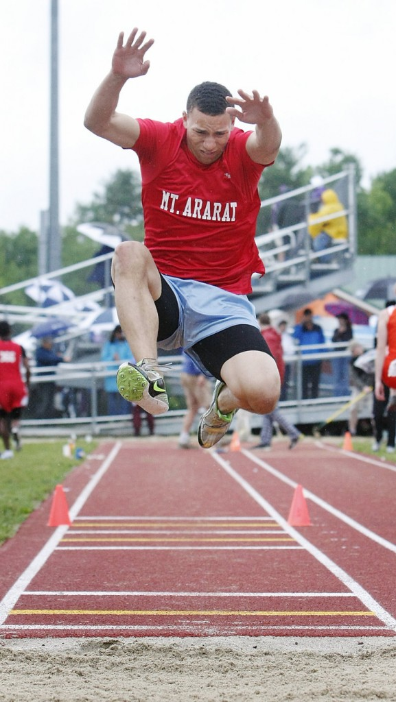 McKenzie Gary of Mt. Ararat competes in the triple jump. Alex Shain of Sanford won with a distance of 42 feet, 6 3⁄4 inches.