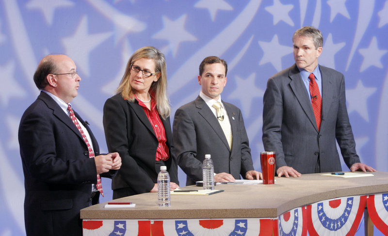 At a debate Tuesday at WGME studios in Portland, Democratic candidates for U.S. Senate criticized anti-terrorist policies and possible cuts to social services. The candidates are, from left, Matt Dunlap, Sen. Cynthia Dill, Benjamin Pollard and Rep. Jon Hinck.