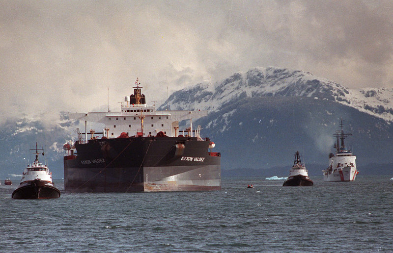 The Exxon Valdez is towed out of Prince William Sound in Alaska on June 23, 1989. India's Supreme Court ruled May 3 that the ship, which was involved in a notorious oil spill, will not be allowed into India for dismantling until it's been decontaminated.
