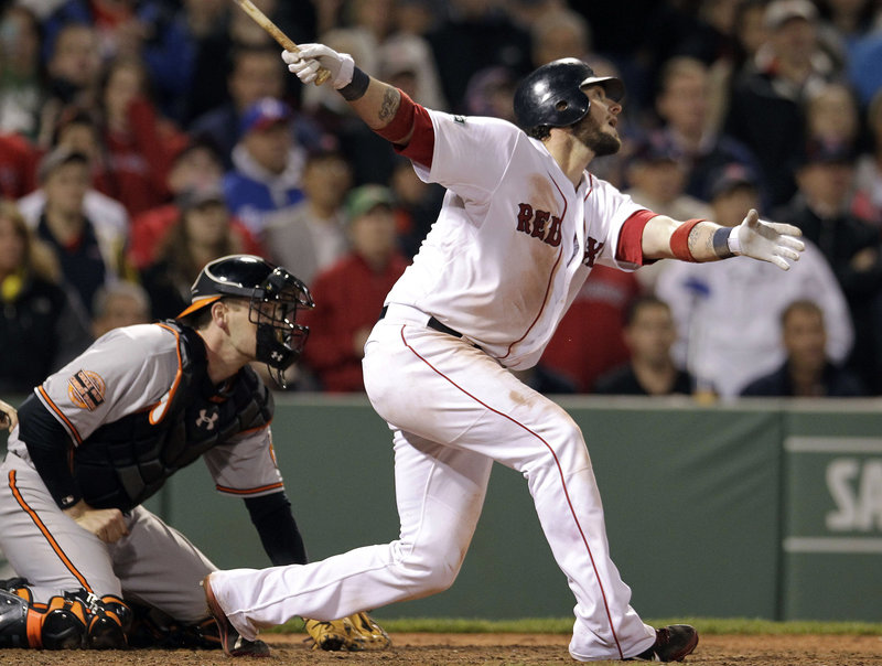 Jarrod Saltalamacchia came through for the Red Sox with two outs in the ninth inning, but a few minutes later watched the Orioles score twice in the 10th for an 8-6 win at Fenway Tuesday night.