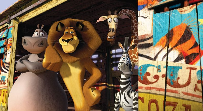 "Gloria (Jada Pinkett Smith), Alex (Ben Stiller), Melman (David Schwimmer) and Marty (Chris Rock) return in ""Madagascar 3."""