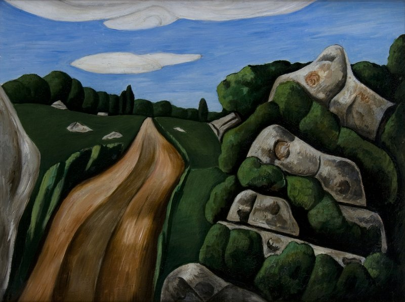 """Summer Outward Bound, Gloucester"", oil on board, 1931, by Marsden Hartley."