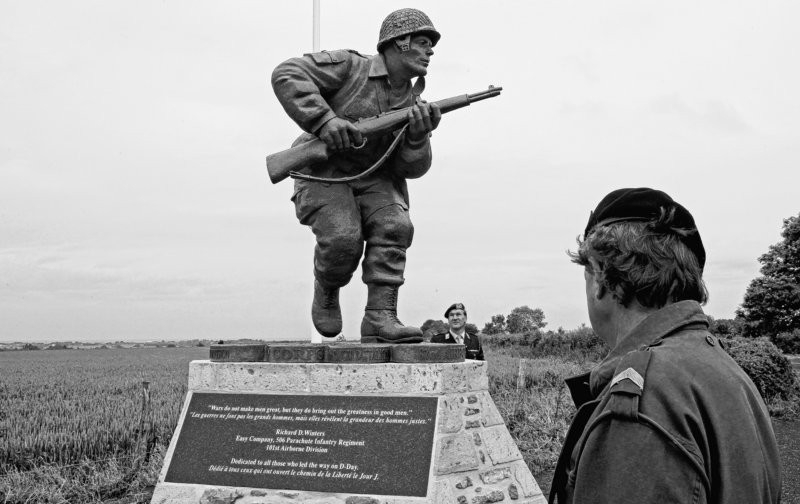 A statue of Maj. Dick Winters, seen Tuesday, was unveiled Wednesday near Utah Beach, where Winters' Easy Company parachuted in on D-Day to destroy German artillery.