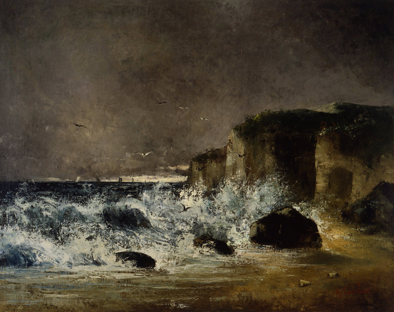 """""""Temps d'Orage a Etretat"""" (""""Stormy Weather at Stretat"""") by Gustave Courbet, oil on canvas, circa 1869."""