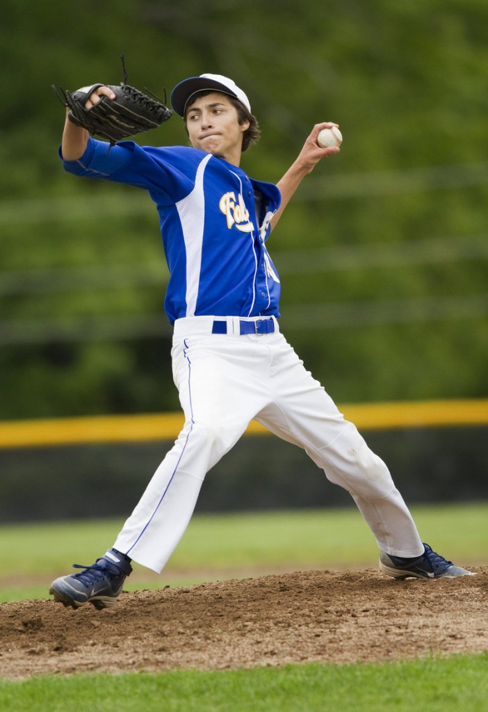 Thomas Fortier pitched a four-hitter to propel Falmouth into the Western Class B semifinals. Fortier struck out six.