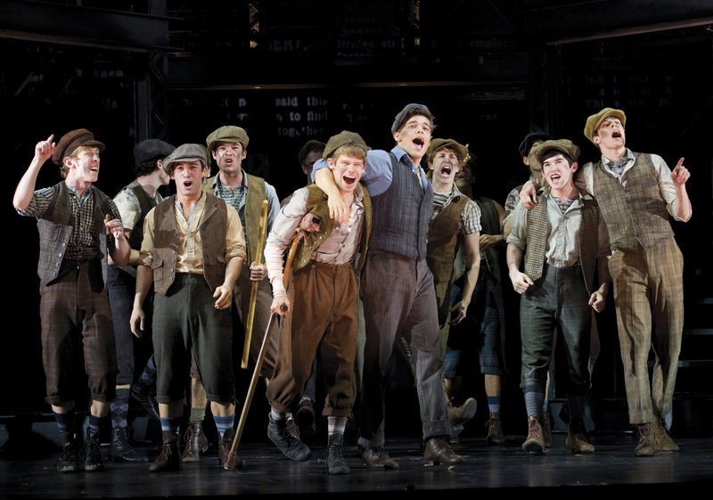 "The cast of ""Newsies,"" starring Jeremy Jordan, center right."