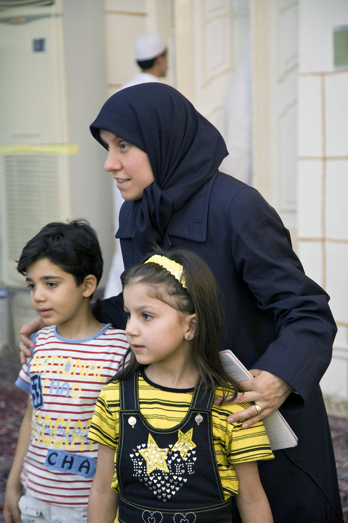 "Houda al-Habash and her students at Al Zahra Mosque in a scene from ""The Light in Her Eyes."""