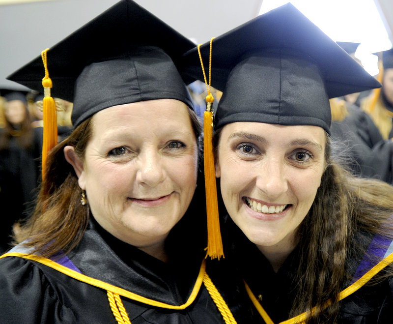 Mother and daughter graduates Patti Libby of Windham and Brandy Adams of Yarmouth received associate degrees during the Kaplan University commencement in Portland.