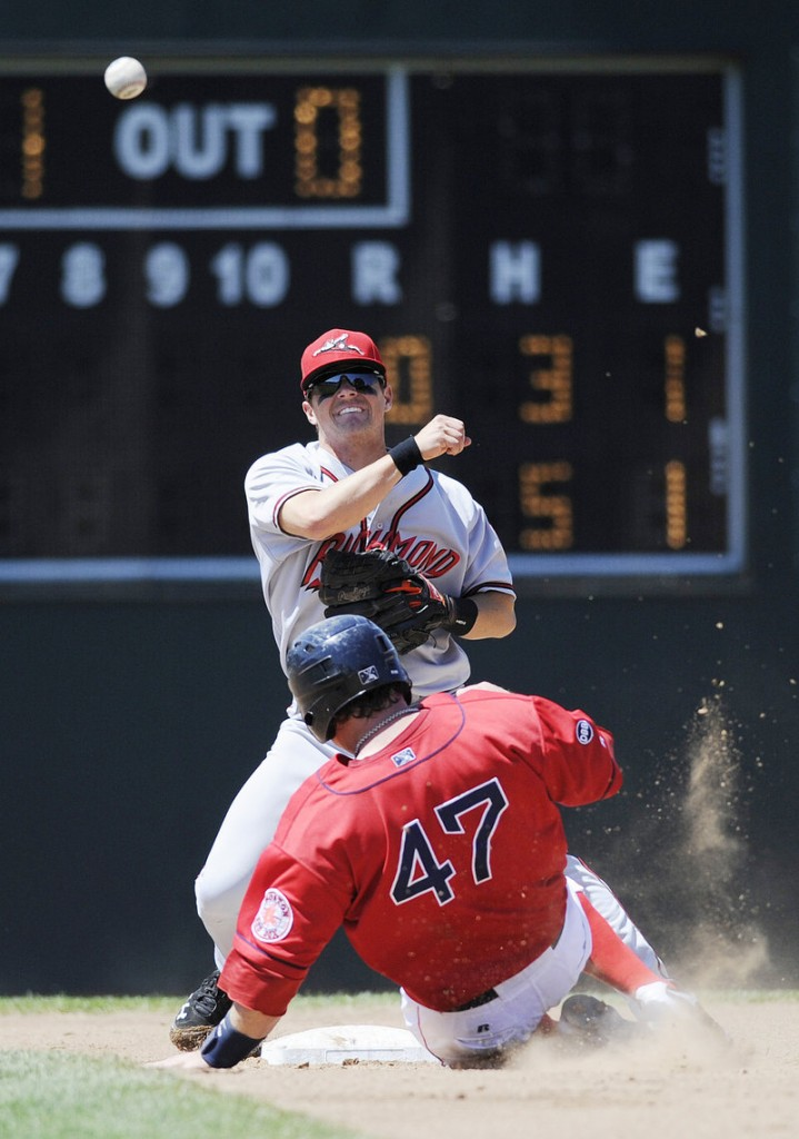 Sea Dogs catcher Matt Spring can't break up a double play as Richmond second baseman Ryan Cavan makes the relay to first Sunday at Hadlock Field. Richmond rallied for a 4-3 win.