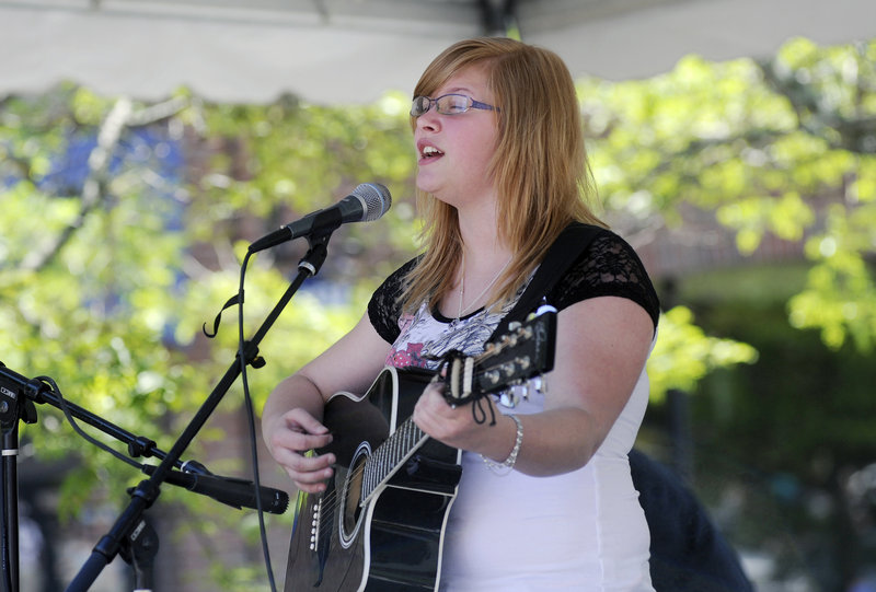 Arianna Cogswell of Saco performs at the festival.