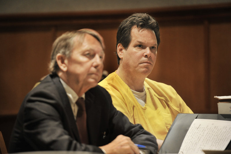 Dennis Dechaine, convicted of the 1988 murder of 12-year-old Sarah Cherry, is shown with defense attorney Steven Peterson at a previous hearing.