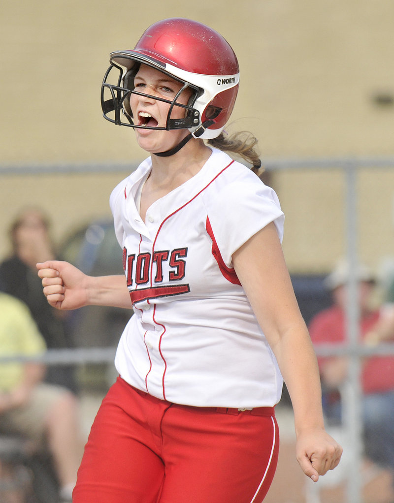Danica Gleason of South Portland reacts after scoring the go-ahead run on a wild pitch. The Red Riots, after handing Scarborough its only loss, will meet undefeated Cony for the state title at 3 p.m. Saturday.
