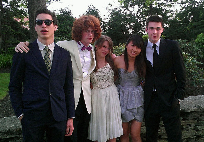 Casco Bay High prom attendees Oliver Holden, Ben Alcorn, Devon Miller, Akari Ishii and Miles Linsmith.