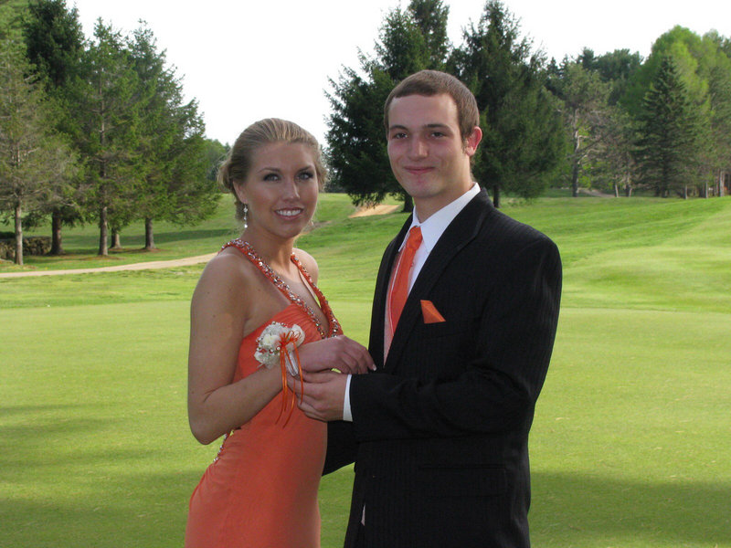 Stephanie Raczkowski and Thomas Purinton before the Brunswick High School prom.