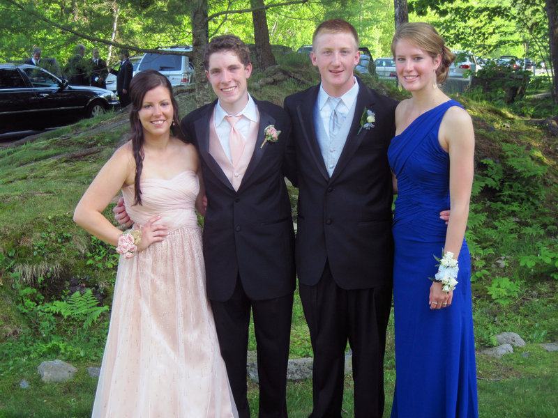 Cheverus High prom attendees Arianna Nickerson, Patrick Conley, Timmy Sweret and Fallon Parker.