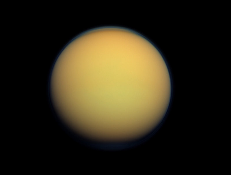 Saturn's largest moon, Titan, is thought to have a hydrocarbon lake and several ponds near the equator.