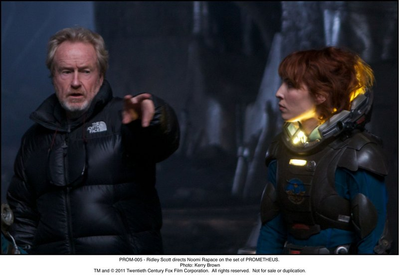 "Ridley Scott and Noomi Rapace on the set of ""Prometheus""."